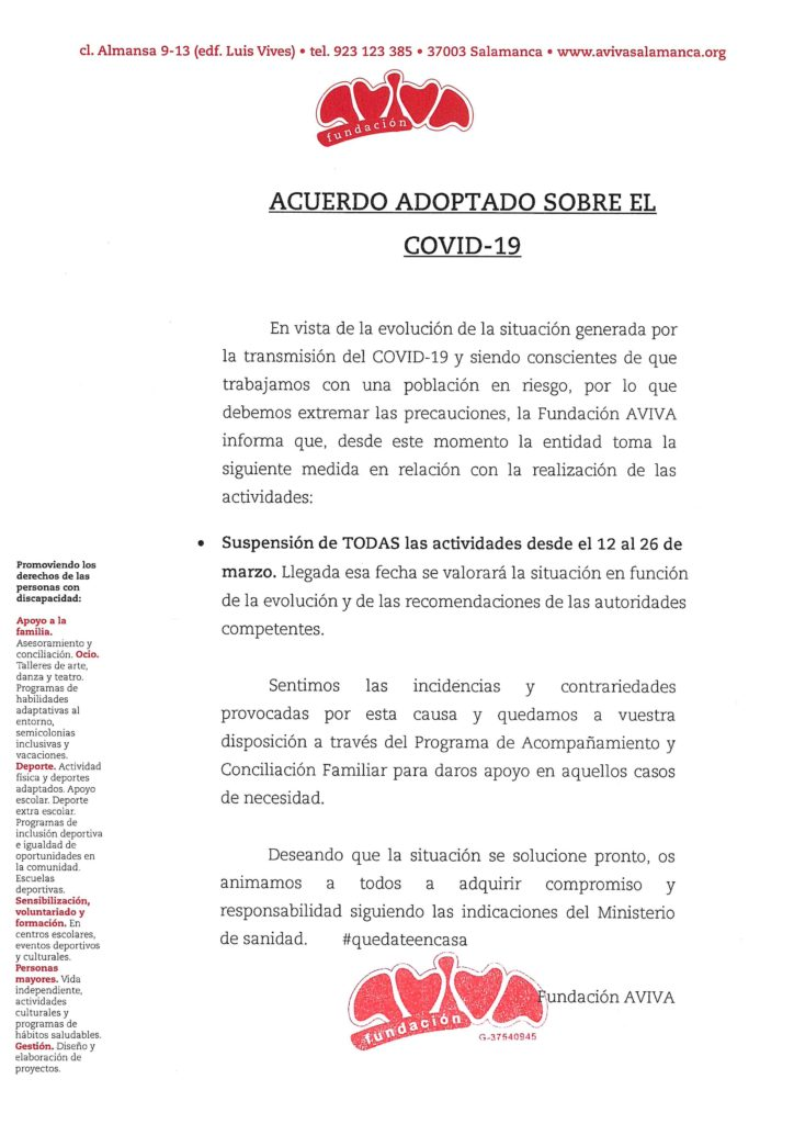 AVIVA suspende todas sus actividades hasta el día 26 de marzo.