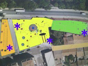 Plano del parque sobre el que se realizaron las indicaciones de accesibilidad